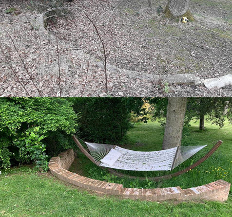 Alison Bockh Garden Design and Landscaping - North Devon - Old wall restored and hammock in situ